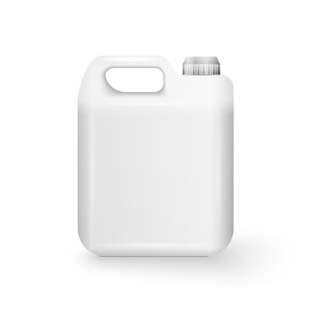 White Plastic Jerrycan Oil, Cleanser, Detergent, Abstergent, Liquid Soap, Milk, Juice On White Background Isolated.