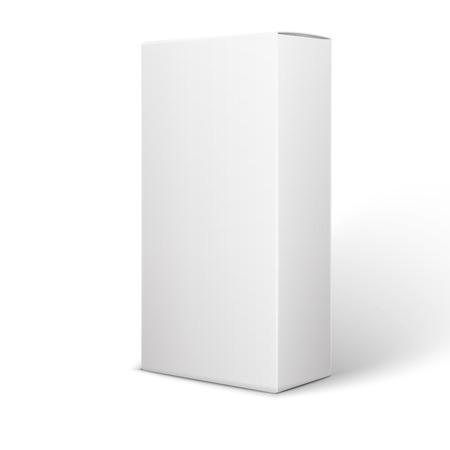 화이트 제품 패키지 상자 그림 흰색 배경에 고립입니다. 일러스트