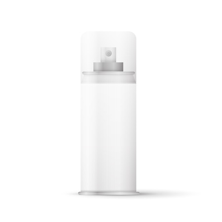 freshener: White metal bottle with sprayer cap for cosmetic, perfume, deodorant or freshener or hairspray.