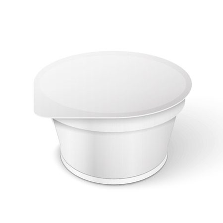 White Short And Tub Food Plastic Container For Dessert, Yogurt, Ice Cream, Sour Cream Or Snack. Vector