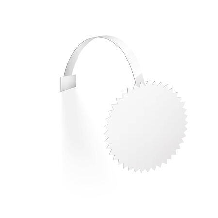 advertising wobbler: Blank Wobbler with Transparent Strip Isolated on a White Background