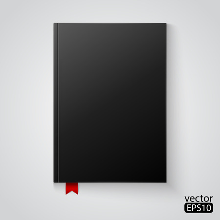 notebook cover: black blank book Illustration