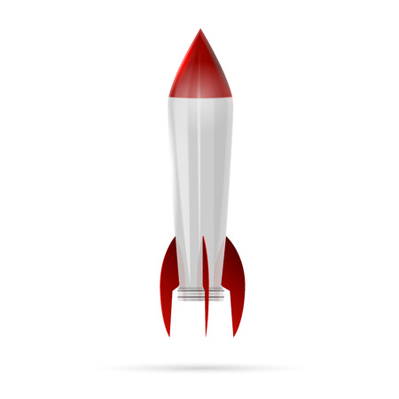 Rocket space ship isolated on white Vector