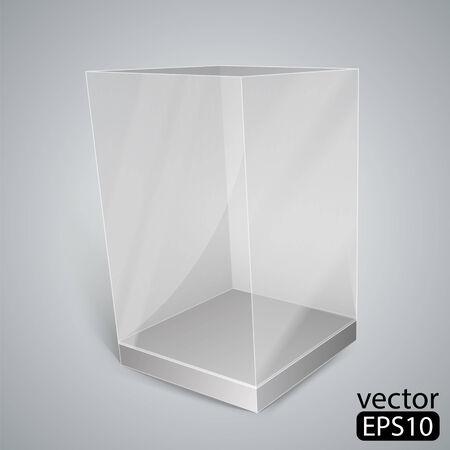 Black Glass Rectangle Box. Vector