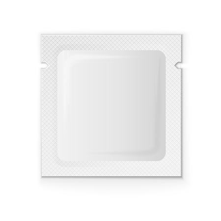 condoms: Blank white plastic sachet for coffee, sugar, salt, spices, medicine, condoms, drugs, isolated on grey background with place for your design and branding. Vector