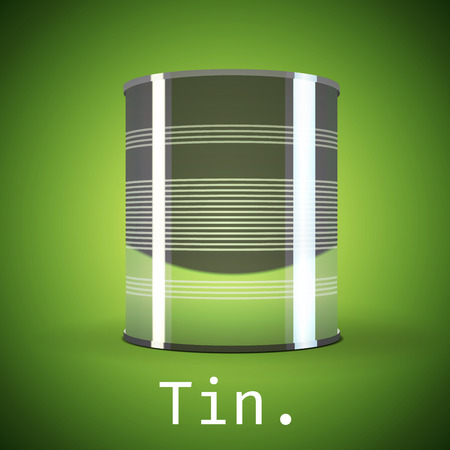 tinned: A silver tin can on a green background.