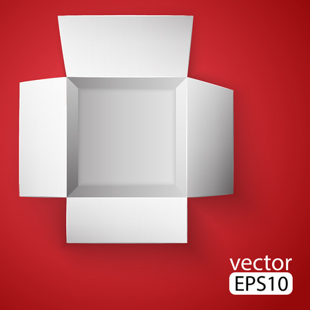 Open white box on red background. Top view. Vector