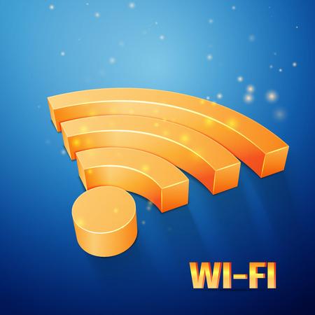 orange Wi-Fi symbol on blue background Vector
