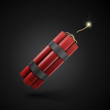 Red Dynamite isolated on a black background Vector