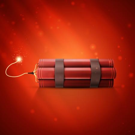 Rode Dynamite geïsoleerd op een rode achtergrond Stockfoto - 33332273