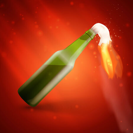 molotov: Illustration of Molotov cocktail bomb on red background