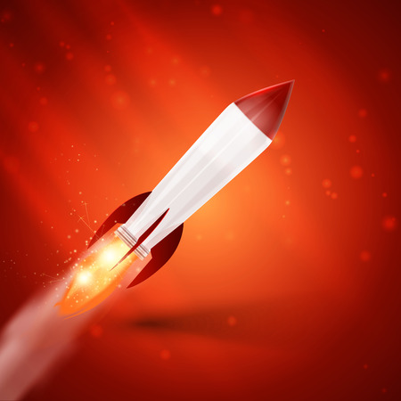 Rocket space ship on red background Vector