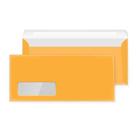 manila envelop: Two blank yellow envelopes (opened and closed)