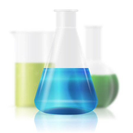 reagents: test tubes with colorful liquids isolated on white Illustration
