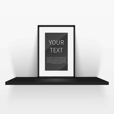 pieces of furniture: shelf and blank poster