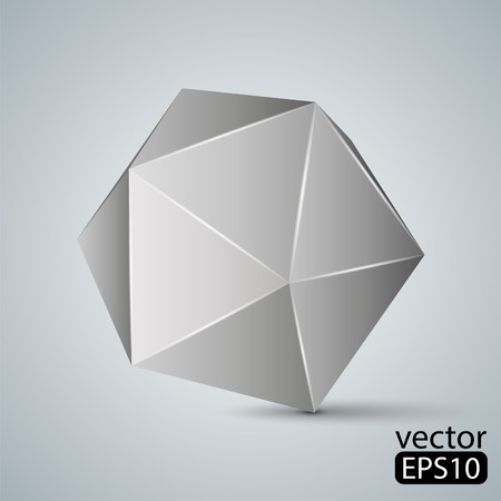 tetrahedron: Illustration of geometric figure. Icosahedron