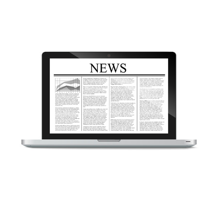 article: laptop with news article on screen isolated on white. Vector