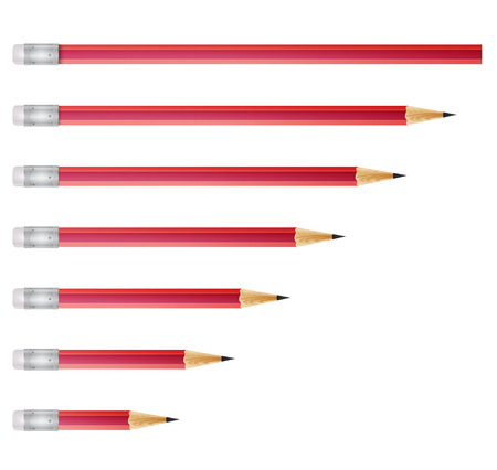 Red pencils isolated on white background, vector illustration Illustration