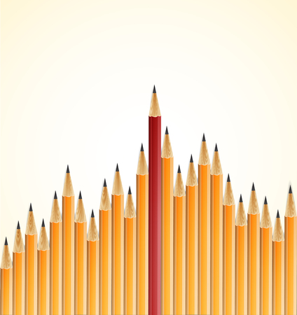 Yellow pencils and one red crayon standing out from the crowd. Isolated on white. Vector