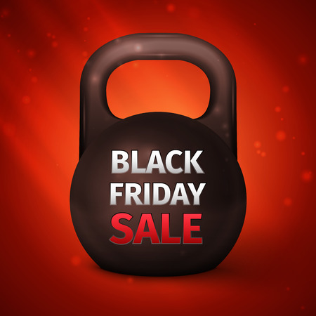 Metal dumbbell. Black Friday Sale Abstract Vector Illustration Illustration