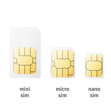 Set van SIM-kaarten van verschillende maten (mini, micro, nano) geïsoleerd op een witte achtergrond. Vector Stock Illustratie