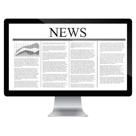 article: computer  with news article on screen isolated on white. Vector
