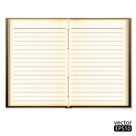 old notebook: open old notebook isolated on white. Vector illustration