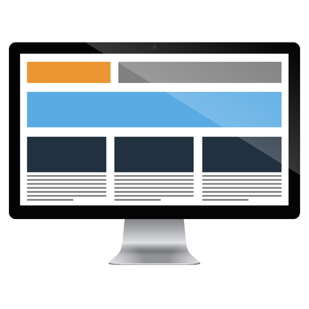 Highly detailed responsive computer with responsive grid layout. Vector