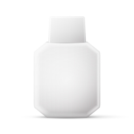 freshener: Cosmetic Parfume, Deodorant, Freshener Or Medical Antiseptic Drugs Square Plastic Bottle White. Illustration
