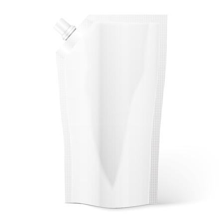 pouch: Blank spout pouch, bag foil or plastic packaging. Vector.