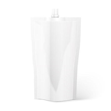 Blank spout pouch, bag foil or plastic packaging. Vector. Vector