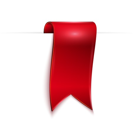 shimmery: red ribbon over white background, vector illustration