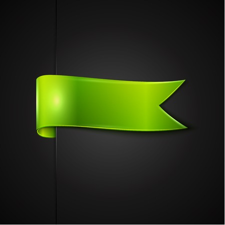 tied up: green ribbon over black background, vector illustration