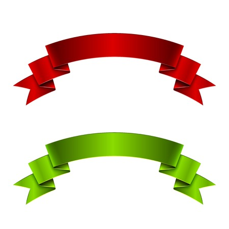 Red and green ribbon, great vector illustration, EPS