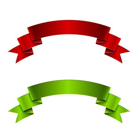 green ribbon: Red and green ribbon, great vector illustration, EPS