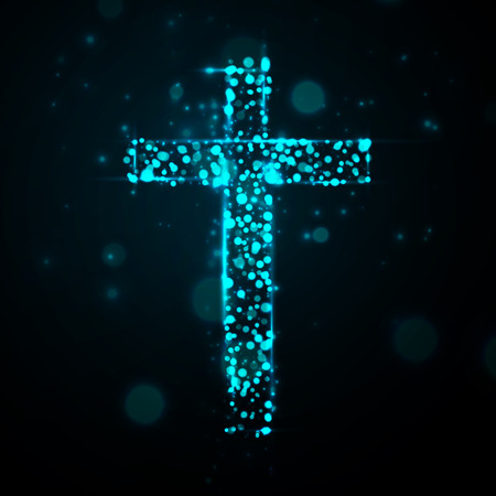 blue silhouettes: cross of light, great vector illustration, EPS