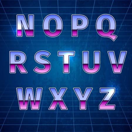 80's: 80s Retro Sci-Fi Font, beautiful vector illustration Illustration