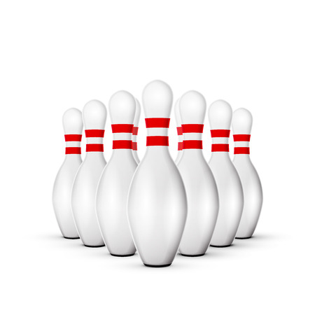 bowling alley: excellent vector illustration, bowling ball crashing into the pins game, with red stripes isolated on white, EPS, white Illustration