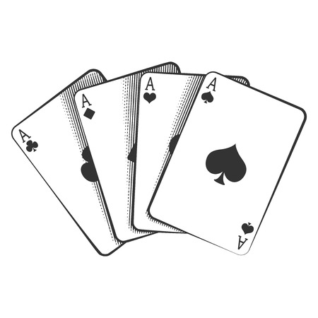 deck: A winning poker hand of four aces playing cards suits on white.