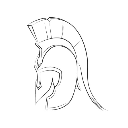 cascos romanos: Griego Antiguo Casco espartano estilo aislado en blanco Vectores