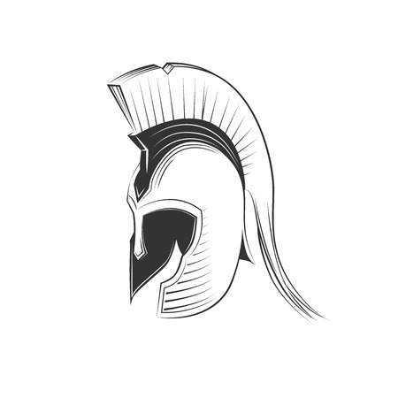 warriors: Ancient Greek Helmet Spartan Style Isolated on White Illustration