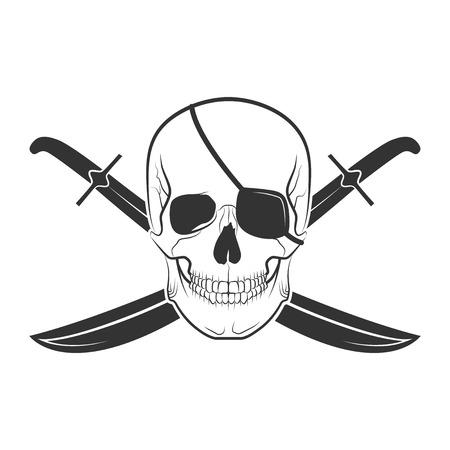 bleak: Human skull on isolated white background, excellent vector illustration Illustration