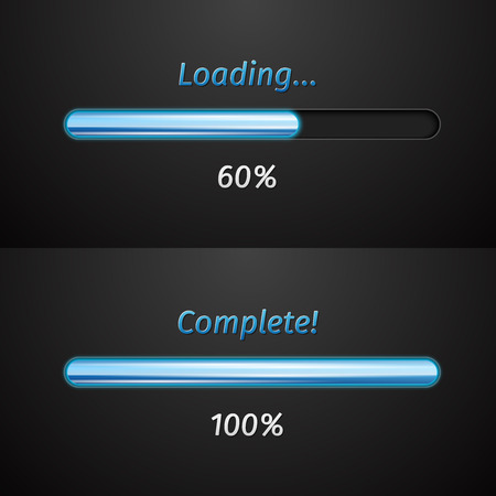 Collection of modern glowing preloaders and progress loading bars. Vector illustration Vector