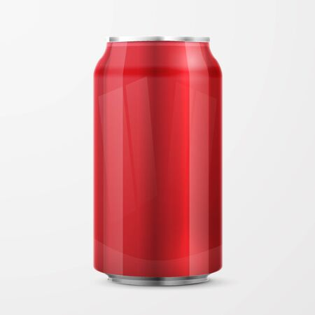 red metal: Red Metal Aluminum Beverage Drink Can . Ready For Your Design. Product Packing Illustration