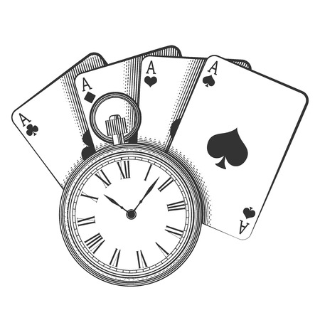 happiness ace: Old pocket watch and playing cards, excellent vector illustration, EPS