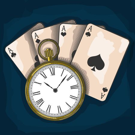 Old pocket watch and playing cards, excellent vector illustration, EPS