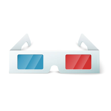 3 d glasses: Side view of a pair of 3D glasses Isolated on white   background.
