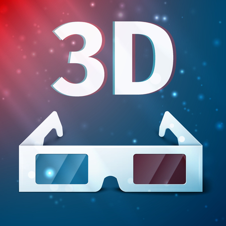 3 d glasses: Side view of a pair of 3D glasses Isolated on colored background.