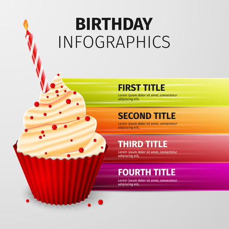 cream cake: Delicious cupcake, birthday cake, excellent vector illustration,