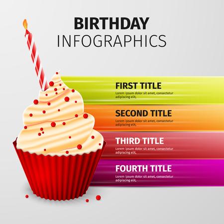 Delicious cupcake, birthday cake, excellent vector illustration,